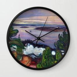 Train Smoke by Edvard Munch Wall Clock