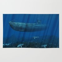 submarine Area & Throw Rugs featuring U99 Submarine by Simone Gatterwe