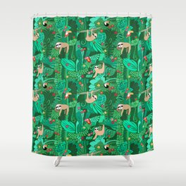 Sloths in the Emerald Jungle Pattern Shower Curtain