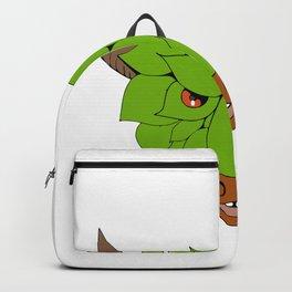 Green Bull Head Drawing Backpack