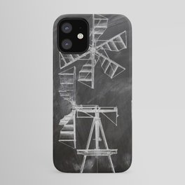steampunk western country chalkboard art agriculture farm windmill patent print iPhone Case