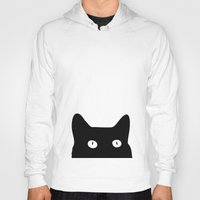 fabric Hoodies featuring Black Cat by Good Sense
