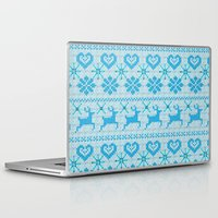 knitting Laptop & iPad Skins featuring Scandinavian Knitting by Vannina