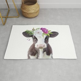 Baby Cow with Flower Crown Rug