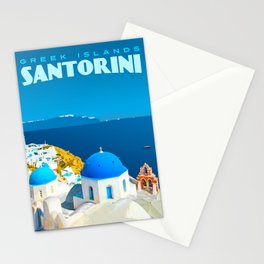 Santorini Travel Poster Stationery Cards