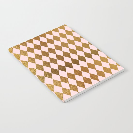 Royal gold on pink backround - Luxury geometrical pattern Notebook