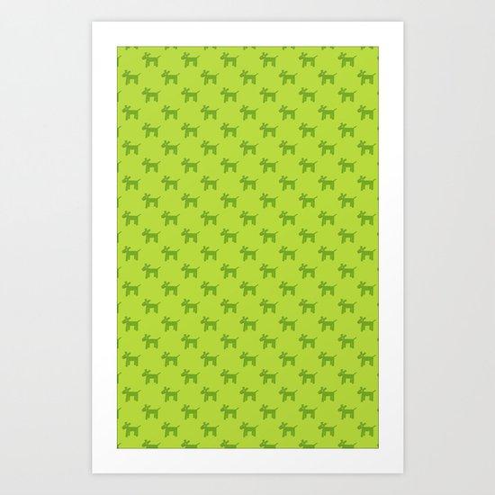 Dogs-Green Art Print