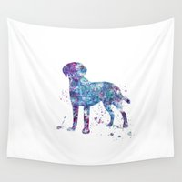 labrador Wall Tapestries featuring Labrador  by Watercolorist