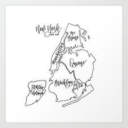 NYC Boroughs Art Print