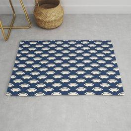 Japanese motive white and blue geometric pattern Rug