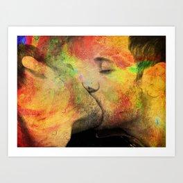 gay kiss Art Print