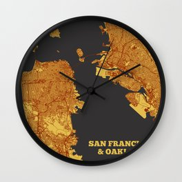 Street Map of San Francisco and Oakland, California Wall Clock