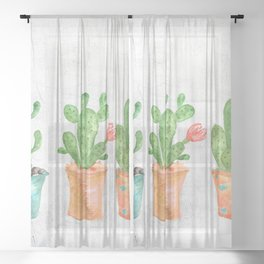 Three Green Cacti Watercolor White Sheer Curtain