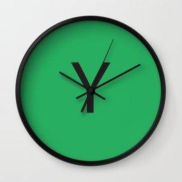 Letter Y Initial Monogram - Black on Nephritis Wall Clock