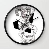 ram Wall Clocks featuring Ram by Hopler Art