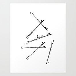 Bobby Pin Hand Lettering Illustration Art Art Print