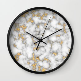 White Marble with Gold Dust Wall Clock