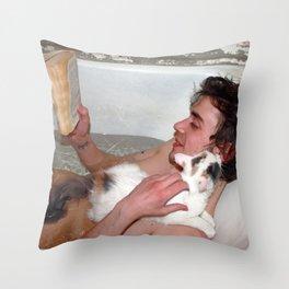 Cat in bathroom Throw Pillow