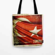 Grunge sticker of Turkey flag Tote Bag