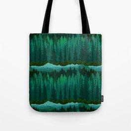 PNW Mountain Landscape in Emerald Green Tote Bag