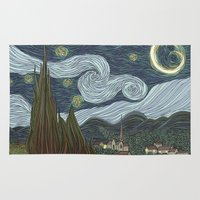 starry night Area & Throw Rugs featuring starry night by Justin McElroy