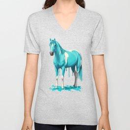 Bright Cyan Blue Pinto Wet Paint Horse Unisex V-Neck