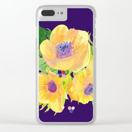 Yellow Floral Watercolor flowers on Purple background Clear iPhone Case