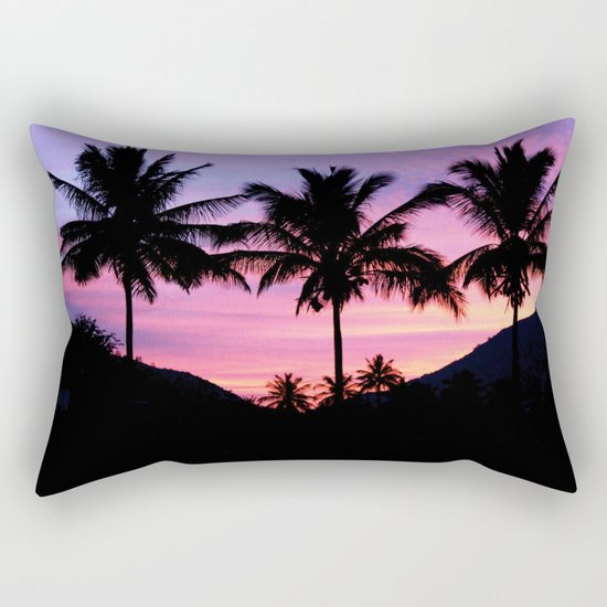 Sunset Palm Trees Rectangular Pillow