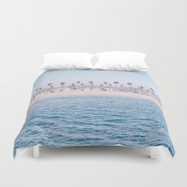 Vintage Newport Beach Print {3 of 4} | Photography Ocean Palm Trees Cool Blue Tropical Summer Sky Duvet Cover
