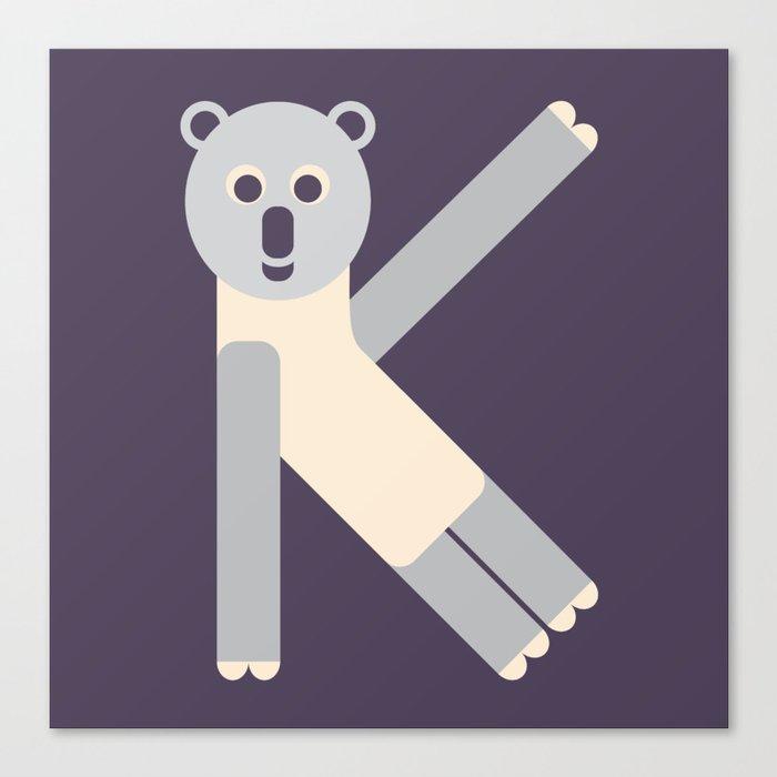 Letter K // Animal Alphabet // Koala Monogram Canvas Print