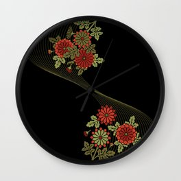 Chrysanthemum wave Wall Clock
