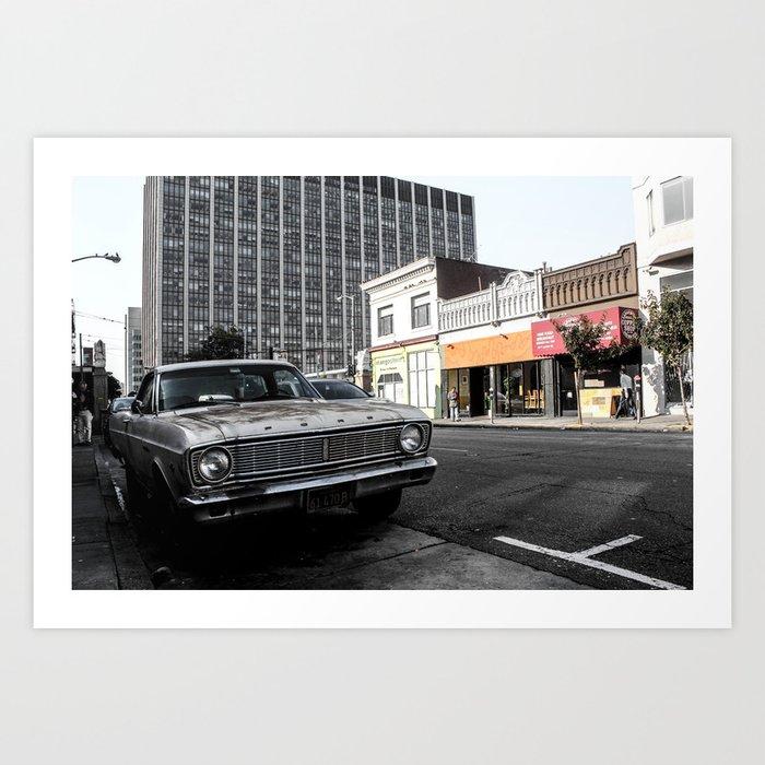 ArtWork Car San Francisco California black colour photo art Art Print