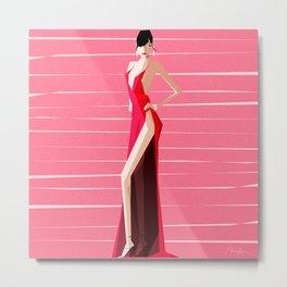 Bella Hadid Red by Monica Ahanonu Metal Print