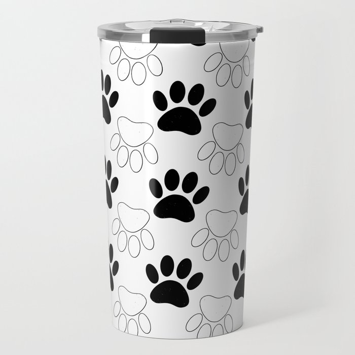 Black And White Dog Paw Print Pattern Travel Mug by almdrs