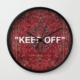 """keep off"" antique persian rug Wall Clock"