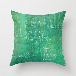 School blackboard green pattern with math equations Throw Pillow