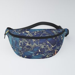 Dark blue stone marble abstract texture with gold streaks Fanny Pack