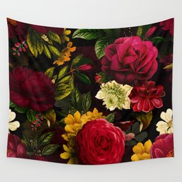 Mystical Night Roses Bouquet Wall Tapestry