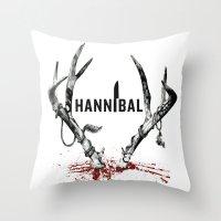 hannibal Throw Pillows featuring Hannibal  by lazergo