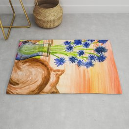 Cat with Corn Flowers Rug