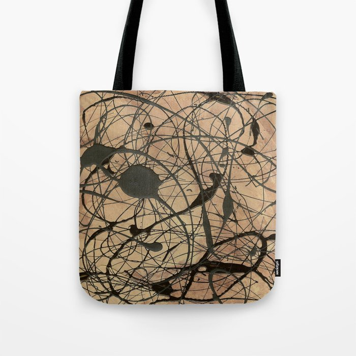Pollock Inspired Abstract Black On Beige Tote Bag