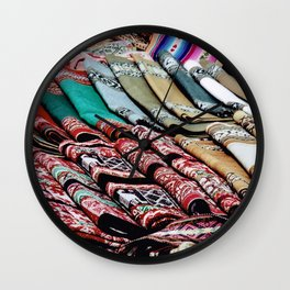 Colorful Scarves at an Outdoor Market Wall Clock