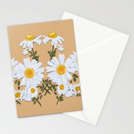 White Daisy flowers in my garden_ Warm Neutral Tan palette Stationery Cards