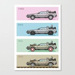 Back to the Future - Delorean x 4 Canvas Print