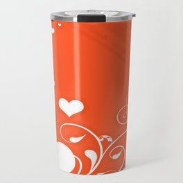 White Valentine Hearts On Red Background Travel Mug