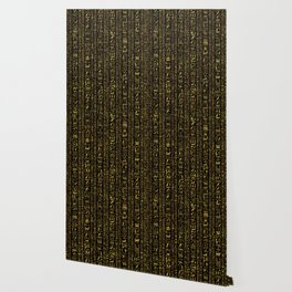 Egyptian hieroglyphs vintage gold on black Wallpaper