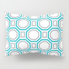 Polygonal pattern - Turquoise blue and Gray Pillow Sham