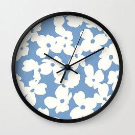 Dogwood Floral Print: Sky Blue Wall Clock