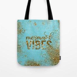 Mermaid Vibes - Gold Glitter On Teal Tote Bag