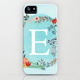 Personalized Monogram Initial Letter E Blue Watercolor Flower Wreath Artwork iPhone Case